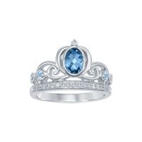 Enchanted Disney London Blue Topaz Cinderella Carriage Ring in Sterling Silver