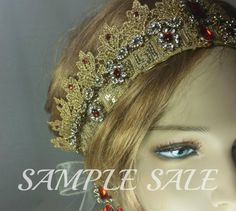 Gold Bridal Crown . Gold Crown Ruby Red Gems . Regal Gold Crown . Wedding Crown .Fancy Dress Crown . Gold and Rubies . Sample Sale