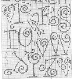 Swirly heart cross stitch alphabet chart 2 of 2 St Valentine Crochet Alphabet, Cross Stitch Alphabet Patterns, Embroidery Alphabet, Cross Stitch Letters, Cross Stitch Designs, Stitch Patterns, Blackwork, Cross Stitch Freebies, Cross Stitch Charts