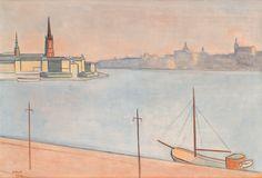 Einar Jolin (1890-1976): Vy från Norr Mälarstrand mot söder och Riddarholmen, 1948