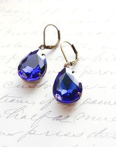 Sapphire Blue Earrings, Dark Royal Blue, Celestial, Drop Rhinestone, Bridal, Prom Vintage Style Teardrop, Modern Accessories, Lever back via Etsy