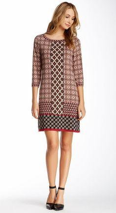 3/4 Length Sleeve Shift Dress