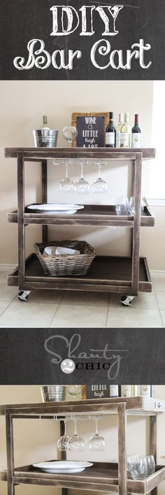Learn how to create your own bar cart! FREE plans and tutorial at Shanty-2-Chic.com