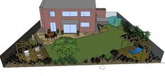 16 new ideas garden design narrow layout Urban Garden Design, Garden Design Images, Back Garden Design, Garden Design Plans, Modern Landscape Design, Landscape Plans, Modern Design, Privacy Landscaping, Modern Landscaping