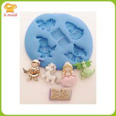 Fairytale Princess CASTLE pequeña Craft Sugarcraft Fimo de caucho de silicona de la princesa, caballero, dragón, unicornio y libro para niños(China (Mainland))