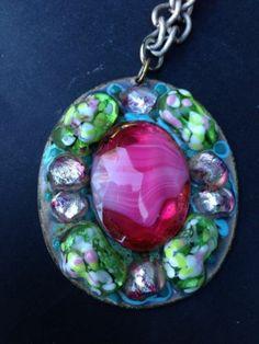 Ruth Buol Vintage Pendant Necklace Mid Century Enamel Copper Fused Glass   eBay