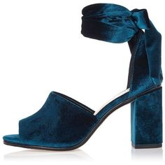 River Island Blue velvet block heel sandals ($62) ❤ liked on Polyvore featuring shoes, sandals, heels, blue, high heel sandals, ankle tie shoes, open toe sandals, ankle strap sandals and high heel shoes