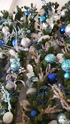 Shades of blue and silver were the hot colors this season,making over 60 garlands in these colors  hese colors