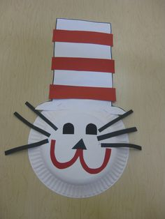 """Dr. Seuss """"Cat in the Hat""""art project- paper plate, white, red and black construction paper, scissors, glue"""