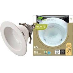 EcoSmart 6 in. 9.5-Watt (65W) Soft White (2700K) LED Downlight (E)* $24.97.