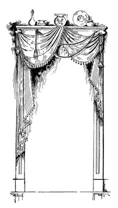Digital Stamp Design: Free Curtain Digital Stamp: Vintage French Curtain with Shelf Over the Top