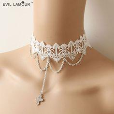 necklace lace White choker (take off chain n pendant)  8.30 DOLLARS   AliExpress