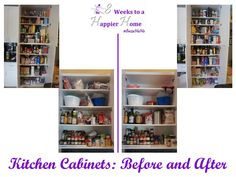 Kitchen cabinets, before and after