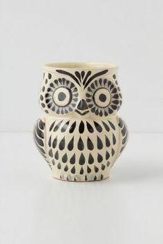 Anthropologie Handpainted Folk Owl Mug
