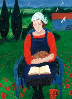 The birds flew around me; my cat was obliviously sleeping on my knee as I read my favourite book... Absorbed | Green Pebble | Dee Nickerson