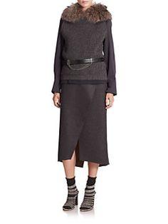 Brunello Cucinelli - Fur-Trimmed Hooded Cashmere Knit Vest