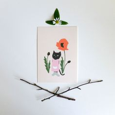 postcard 'Cat and poppy   stokwolf
