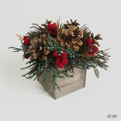 Christmas Centerpiece, Holiday Decor, Red and Gold Christmas Decorations, Dry Flower Arrangement, Evergreen, Pine Cones, Rustic Aged Wood by Lot450shop on Etsy https://www.etsy.com/listing/472086237/christmas-centerpiece-holiday-decor-red