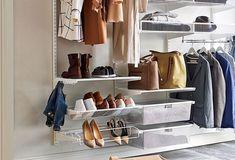 Inspiration till liten hall, Elfa skohylla är en smart förvaring som ger ett fritt golv.