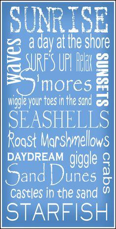 Subway Art Sign  Beach Bum Typography Print 10x20