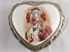 "Creepy Clown Metal and Enamel Clown Music Box ""The Sting"" Vintage Music Box."