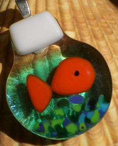 Fused Glass Fishbowl with Tiny Aquarium Gravel - by TickleTickle GLASS CRAFTS