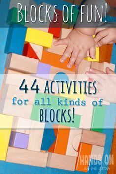 Block activities -- using wooden blocks, Legos, and ABC blocks