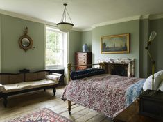 Soft and rustic old-fashioned bedroom with vintage and antique furniture and decor.