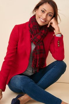 Shop Talbots for modern classic women's styles. You'll be a standout in our Shetland Wool Blazer - Red Pop - only at Talbots! Preppy Fall Outfits, Preppy Style, Casual Outfits, Cute Outfits, My Style, Preppy Dresses, Classy Style, Fashion Dresses, Fashion 101