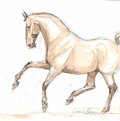 Horse art original ink & watercolor painting Flying Lead Change dressage horse. $45.00, via Etsy.