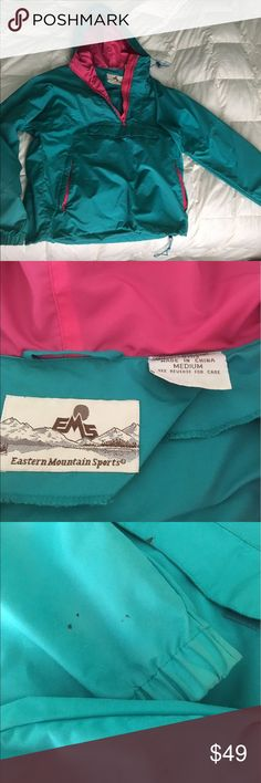 Rain Jacket Light weight great for hiking or just daily use. Eastern Mountain Sports Brand. Pictured stains on jacket, one on the front velcro pocket and the others on the sleeves. Price is negotiable, so feel free to make an offer! Just trying to find it a new home! Eastern Mountain Sports  Jackets & Coats