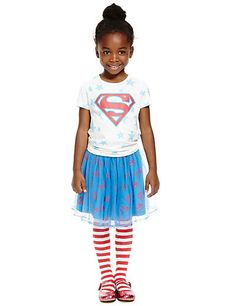 3 Piece Superman™ Outfit with Tights (1-7 Years) | M&S