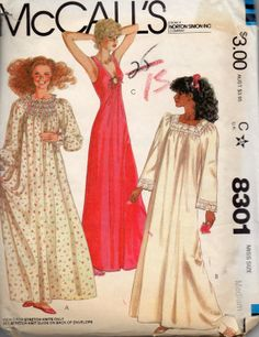 f76fb7200a McCalls 8301 1980s Misses NIGHTGOWN Pattern Romantic and Sexy Lingerie  Womens Vintage Sewing Pattern Size Medium Bust 36 38 OR Lg Or Small