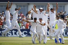England celebrate a victory by just 14 runs over Australia on the last day of the first Ashes Test match at Trent Bridge in Nottingham