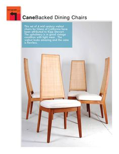 Set of 4 Mid Century Modern Can Backed Dining Attributed to Glenn of California