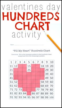 Valentines Day Hundreds Chart Activity:  Have children fill the heart with the missing numbers by finding patterns in the hundreds chart!