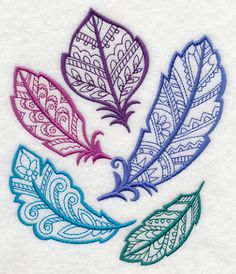 Mehndi Feather Collage design (M7120) from www.Emblibrary.com