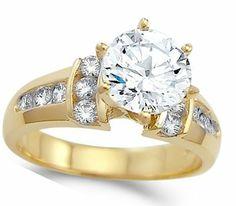 CZ Engagement Ring 14k Yellow Gold Bridal Cubic Zirconia (2.00 Carat) Jewel Roses. $349.00