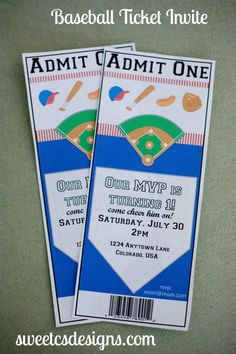Baseball party ticket invitation