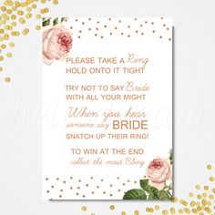 Don't Say Bride Game, Printable Vintage Rose Bridal Shower Game- SKUHDG08 by hellodreamstudio on Etsy