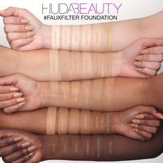 Shop Huda Beauty's Full Coverage Matte Foundation at Sephora. This velvety liquid foundation delivers full coverage and an airbrushed finish. Foundation Dupes, Foundation Colors, Liquid Foundation, Foundation Shade, Maquillage On Fleek, Natural Gel Nails, Huda Kattan, Makeup Swatches, Huda Beauty Swatches