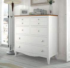 #cómoda de 8 #cajones de espectacular diseño con patas y lacada en blanco con la encimera en color #cerezo, sigue nuestro amplio catalogo de comodas online en: http://rusticocolonial.es/mueble-clasico/muebles-de-dormitorio-clasicos/c%C3%B3modas-y-sinfonieres-cl%C3%A1sicos/comoda-blanca-pino-ref-7327-detail