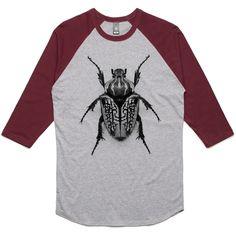 theIndie Oversize Beetle (Black) 3/4-Sleeve Raglan Baseball T-Shirt