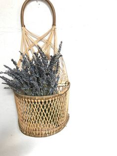 Vintage woven rattan wicker wall hanging basket planter with #Wall-HangingFountains
