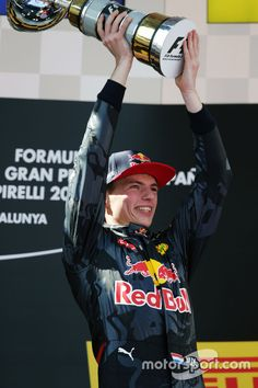 Race winner Max Verstappen, Red Bull Racing celebrates on the podium at Spanish GP High-Res Professional Motorsports Photography Formula E, F1 Season, Sport Icon, Red Bull Racing, F1 Drivers, World Of Sports, F 1, Race Cars, Superstar
