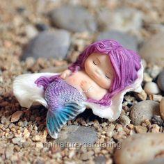 Little Mermaid Sleeping In A Seashell, Fairy Garden, Aquarium Mermaid, Miniature Mermaid, Fairy Gar Mermaid On Rock, Mermaid Fairy, Baby Mermaid, The Little Mermaid, Mermaid Dolls, Fairy Terrarium, Terrariums, Fairy Garden Supplies, Gardening Supplies