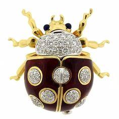 Tiffany & Co. Enamel Sapphire Diamond Gold Lady Bug Brooch Pin