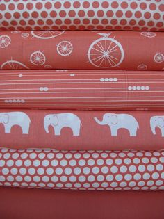 ORGANIC custom 3 piece coral baby bedding- crib skirt, fitted sheet, changing pad cover- made to order on Etsy, $210.00