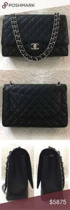 Chanel Maxi Double Flap Caviar Black SilverHrdware 100% Authentic or your Money Back. Excellent/Almost New Condition & used couple of times occasionally only and Clean Inside.Please check photos for best description & please don't buy it if condition is not acceptable to you.No Card/No Dust Bag/No Receipt/No Box.Serious  Buyer Only.PLEASE FOLLOW US FOR MORE GREAT DEALS TO COME!!!🅿️rice Include 🆓🅿️oshⓂ️ark Concierge Service⭐️⭐️⭐️⭐️⭐️ 🅿️rice Firm Here at 🅿️oshⓂ️ark😊🚫NO TRADE🚫 CHANEL…