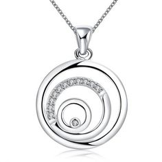 LEKANI+YUEYIN+Silver+Plated+Hollow+Round+Circle+Zircon+Inlaid+Necklace